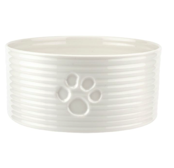 SC White Pet Bowl 7.75""