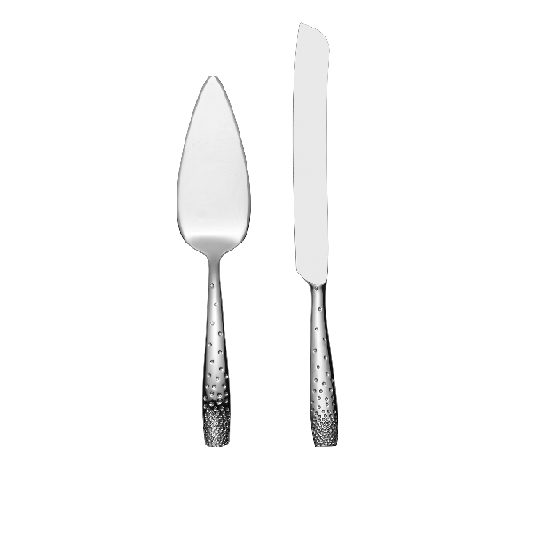 Nambe Dazzle Cake and Knife Server Set