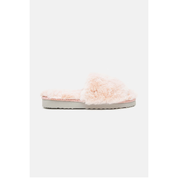 Faux Fur Slippers - Blush