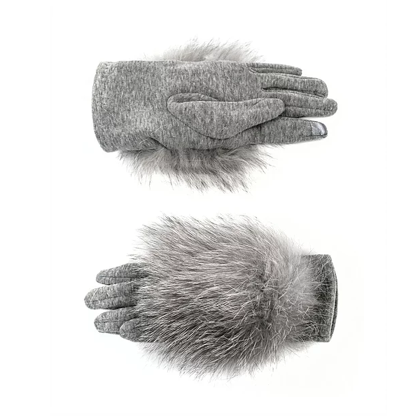 Black Woven Gloves with Fox Pompons