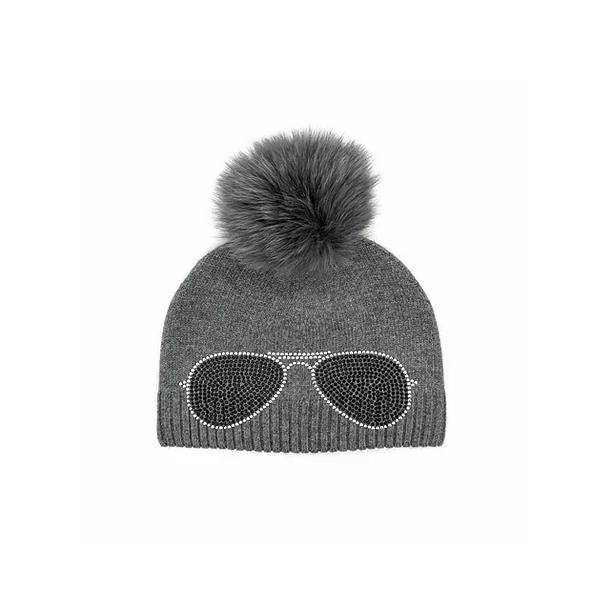 Knit Glasses Hat with Fox Pompom