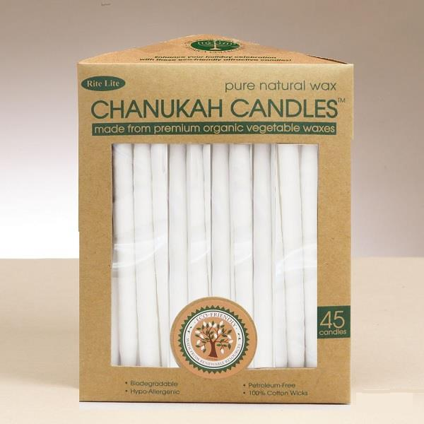 White Organic Wax Chanukah Candles