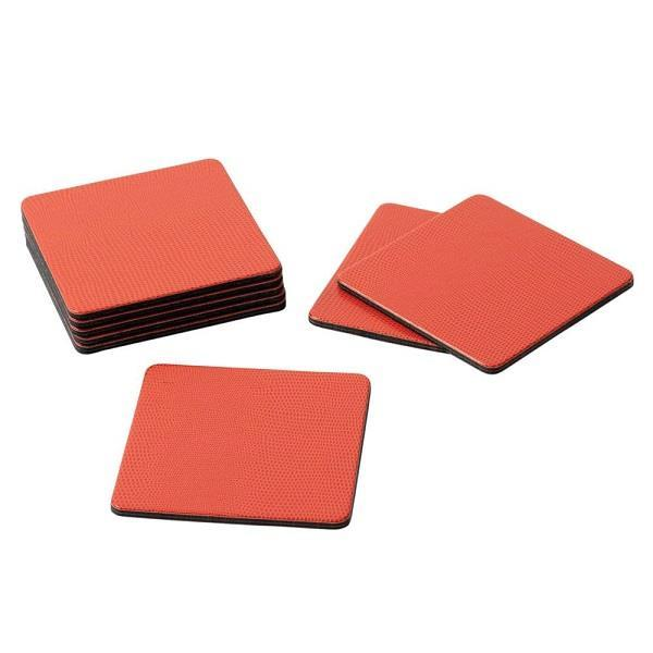 Square Orange Lizard Coasters - Boutique Marie Dumas
