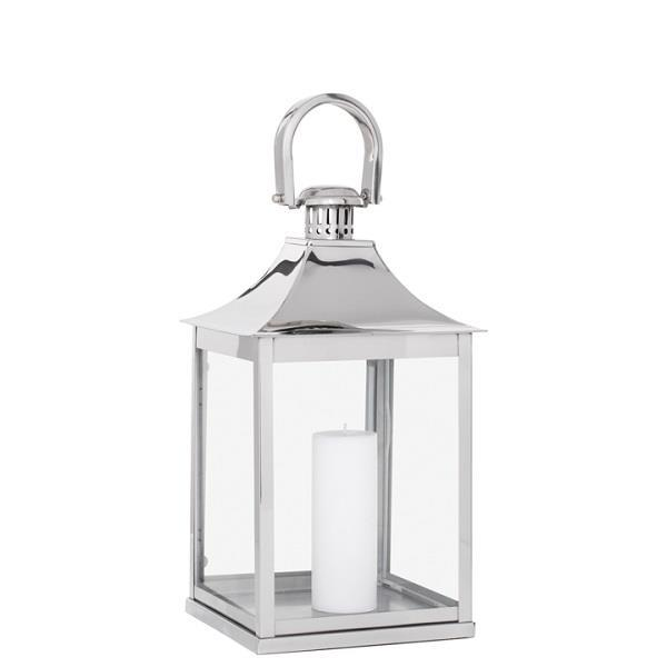 "Stainless Steel Curved Top Lantern - 20"" - Boutique Marie Dumas"