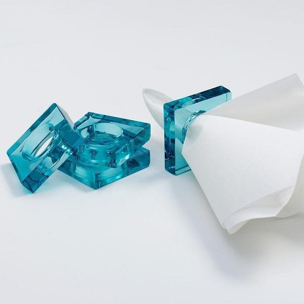 Turquoise Acrylic Napkin Rings - Set of 4 - Boutique Marie Dumas