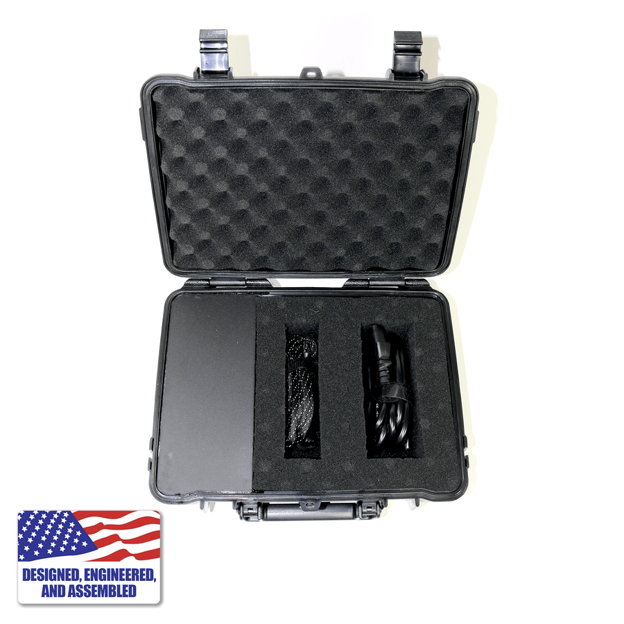 Portable Enail Case in Black - 3/4 Plugged In View