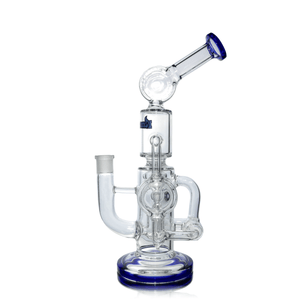 Glass Bubbler Hitman Dab Rig - Double Percolator - Side View