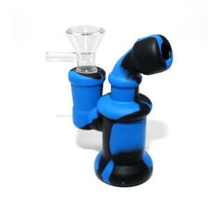 Mini Silicone Bubbler Rig With Glass Bowl - Blue-Black-Complete