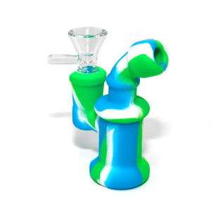 Mini Silicone Bubbler Rig With Glass Bowl - Green-Blue-Complete