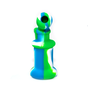 Mini Silicone Bubbler Rig With Glass Bowl - Green-Blue-Rear