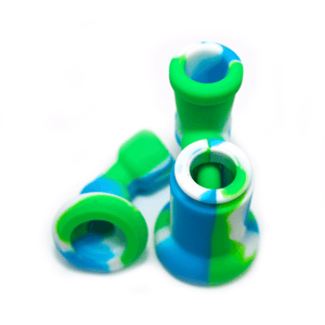 Mini Silicone Bubbler Rig With Glass Bowl - Green-Blue-Apart
