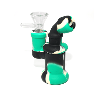 Mini Silicone Bubbler Rig With Glass Bowl - Green-Black-Complete