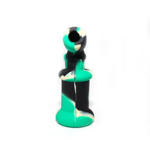 Mini Silicone Bubbler Rig With Glass Bowl - Green-Black-Rear