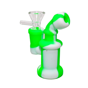 Mini Silicone Bubbler Rig With Glass Bowl - Green-White-Complete
