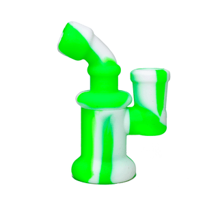Mini Silicone Bubbler Rig With Glass Bowl - Green-White-Side