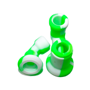 Mini Silicone Bubbler Rig With Glass Bowl - Green-White-Apart