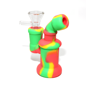 Mini Silicone Bubbler Rig With Glass Bowl - Red-Green-Yellow-Complete