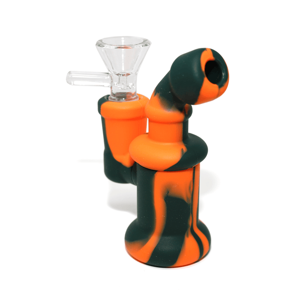 Mini Silicone Bubbler Rig With Glass Bowl - Orange-Black-Complete