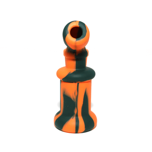 Mini Silicone Bubbler Rig With Glass Bowl - Orange-Black-Rear