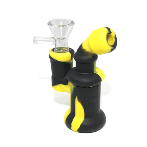 Mini Silicone Bubbler Rig With Glass Bowl - Black-Yellow-Complete