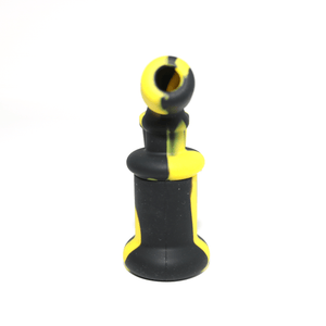 Mini Silicone Bubbler Rig With Glass Bowl - Black-Yellow-Rear