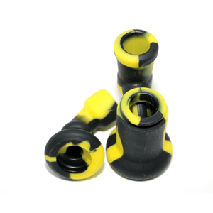 Mini Silicone Bubbler Rig With Glass Bowl - Black-Yellow-Apart