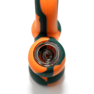 Mini Silicone Bubbler - Orange-Black-Close-Up