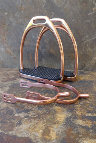 Set of Rose Gold Coloured Stirrups and Spurs