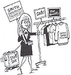 cartoon with lady selling shirts