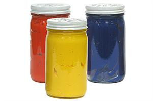 8 oz Screen printing glass jars  with red yellow and blue ink