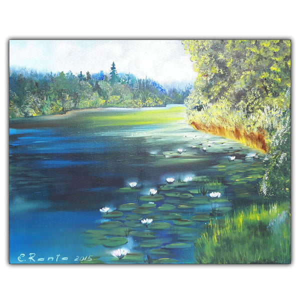 Oil Paiting Forests Lake - Painting