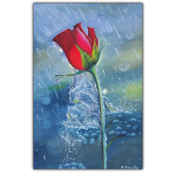 Oil Painting Rose In A Rain