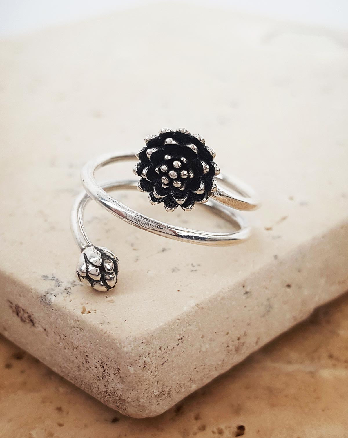 Lotus Bloom & Bud Ring