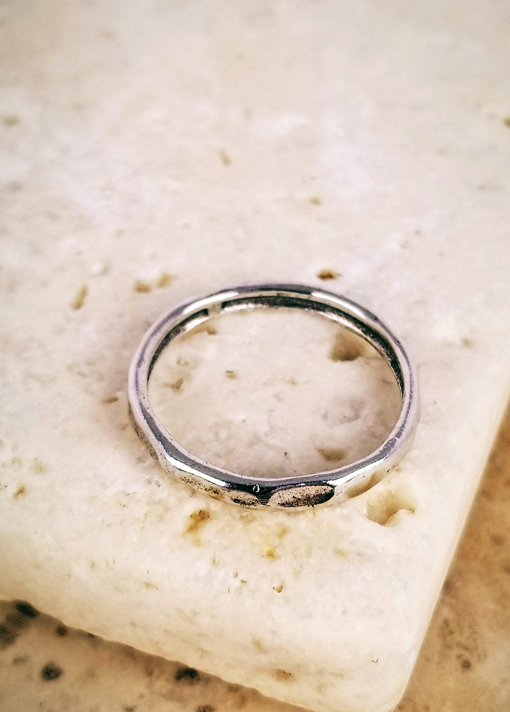 Hammered Thick Sterling Stack Ring