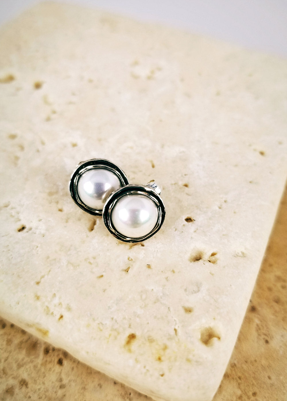 Sterling Pearl Nest Earrings