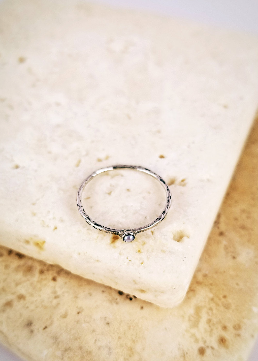 Micro Silver Pearl Ring