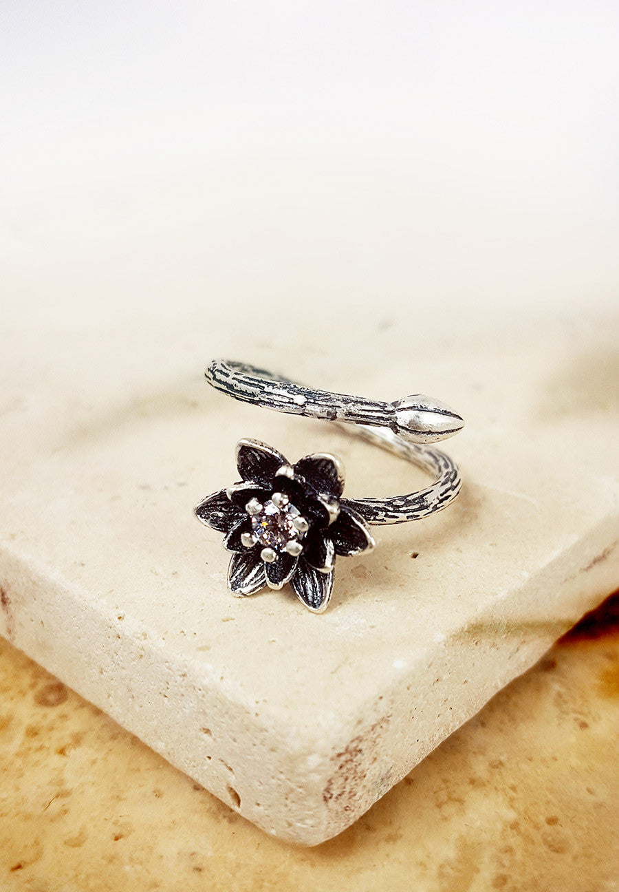 Shimmering Lotus Bloom Ring