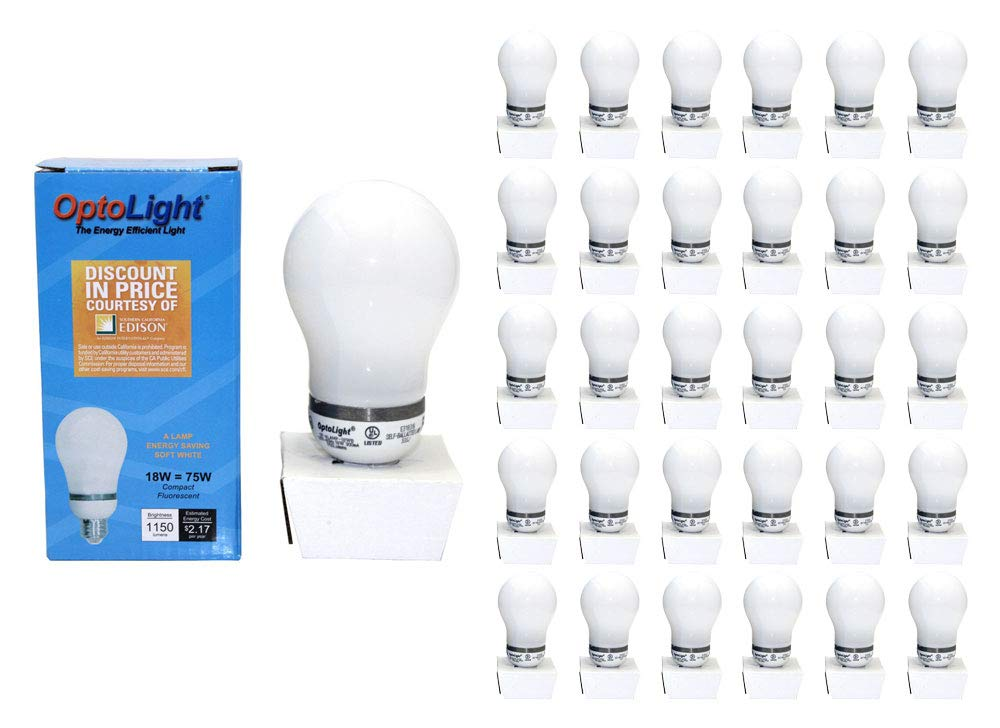(50-Pack) 18W CFL Light Bulb 2700K Energy Saving Warm White 75 Watt Equivalent