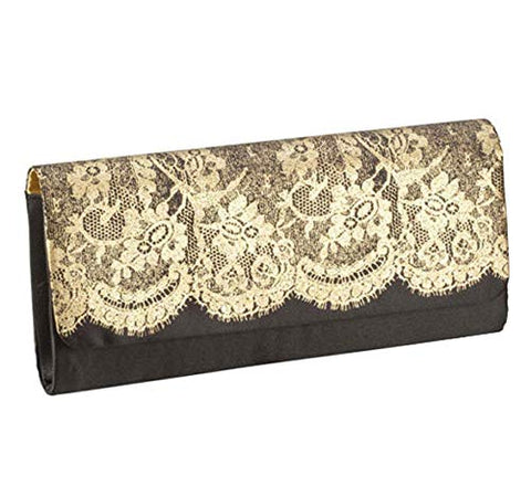 Womens Clutch Purse Elegant Black Gold Lace Evening Bag Nylon Satin Interior(Pack of 10)