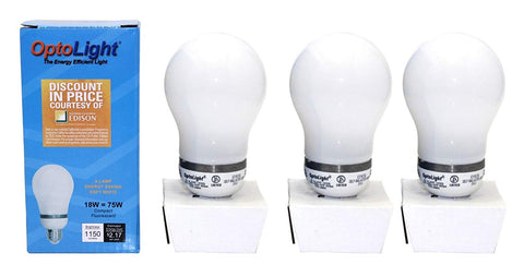 (3-Pack) 18W Optolight CFL Light Bulb 2700K Energy Saving Warm White 75 Watt Equivalent