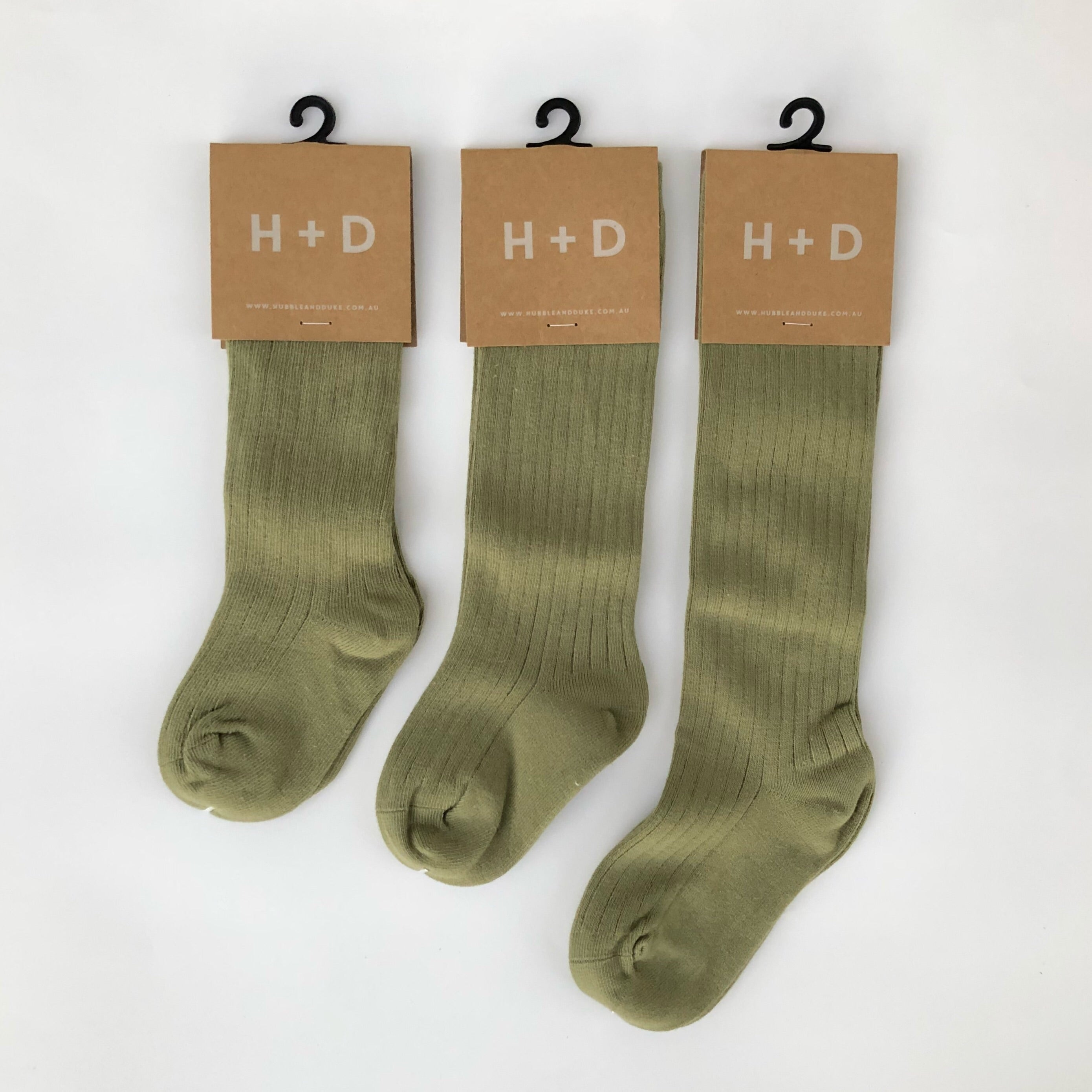 Rib Knee High Socks 'KHAKI'