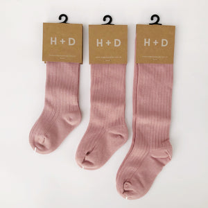 Rib Knee High Socks 'ROSE PINK'