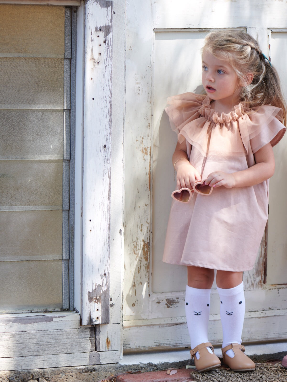Tulle Collar Smock Dress - Short Sleeve [handmade]
