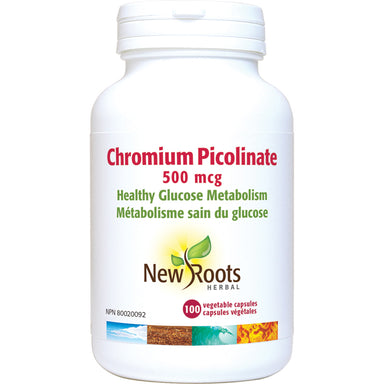 New Roots Chromium Picolinate 500mcg 100 Vegetarian Capsules