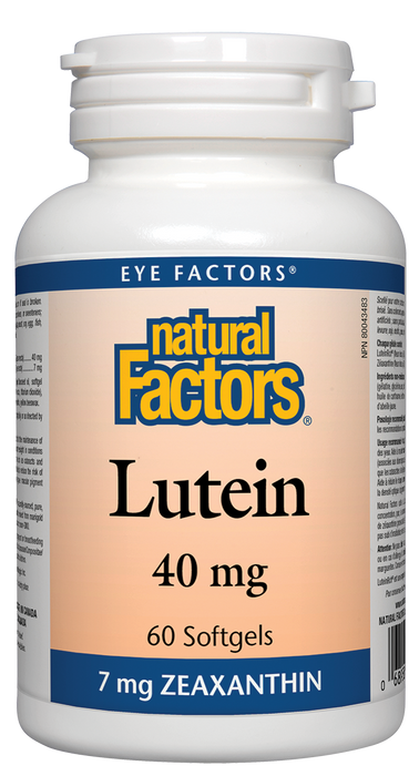 Natural Factors Lutein 40mg 60 Softgels 7 mg Zeaxanthin