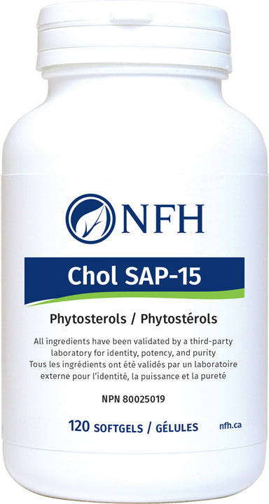 SCIENCE-BASED PLANT STEROLS FOR CHOLESTEROL MANAGEMENT AND IMMUNE SUPPORT  NFH Chol-SAP 120 Softgels  Description  Chol SAP‑15 contains plant sterols in a natural nonesterified form that helps in lowering total and LDL-cholesterol levels and maintaining healthy blood lipid levels. Evidence shows that LDL-cholesterol and total cholesterol concentrations can be decreased between 8 and 15% with intakes of plant sterols of 1.05 g/d.