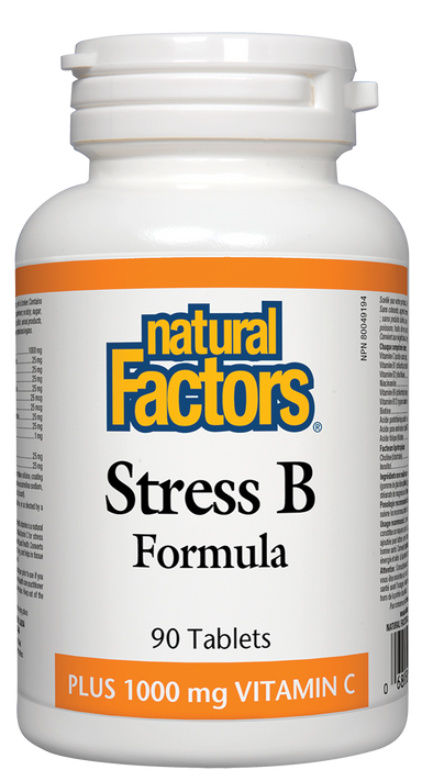 Natural Factors Vitamin B Stress B Formula Plus 1000mg Vitamin C 90 Tablets
