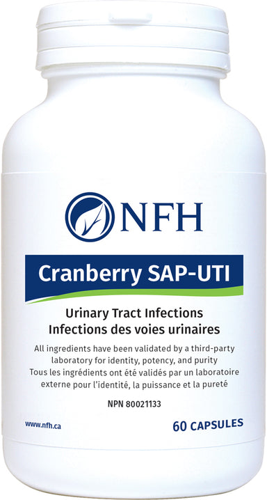 SCIENCE-BASED CRANBERRY (WHOLE BERRY) CONCENTRATE FOR UTI PREVENTION  NFH Cranberry SAP‑UTI 60 Vegetarian Capsules  Description  Native to North America, cranberries have been used as a medicinal agent for centuries. Cranberries contain proanthocyanidins, which have been shown to inhibit the fimbrial adhesion of bacteria, including Escherichia coli, to the urinary tract epithelium, hence preventing bacterial proliferation and infection.