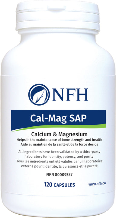 SCIENCE-BASED CALCIUM, MAGNESIUM AND VITAMIN D3 FOR BONE HEALTH  NFH Cal‑Mag SAP 120 Vegetarian Capsules  Description   Bone mass and vitamin D synthesis decrease with aging and inactivity in women and men. Reducing bone loss delays the onset of weakness, thus lowering fracture risk. Peak bone mass is determined by genetics, body weight, weight-bearing activity, and intake of nutrients composing the bone matrix and/or regulating its metabolism.