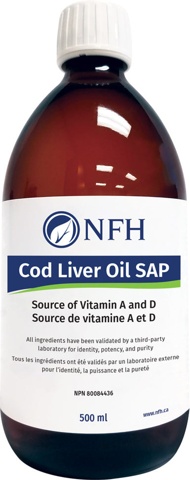 SCIENCE-BASED COD LIVER OIL FOR OPTIMAL HEALTH  NFH Cod Liver Oil SAP 500 ml  Description  Cod Liver Oil SAP is a source of vitamin A and D and a rich source of eicosapentaenoic acid (EPA) and docosahexaenoic acid (DHA). Cod Liver Oil SAP  helps maintain eyesight, skin membranes and immune function.